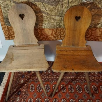 18th Century Tyrolean Alpine Rustic Oak Chairs