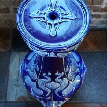 French Majolica Art Nouveau Vulcan Cobalt Pedestal Jardinière, circa 1900