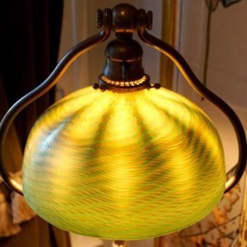 Tiffany Studios Damascene and Bronze Harp Floor Lamp