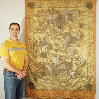 Japanese Meiji Period Silver Embroidery On Silk Of Hawk Attacking White Cranes