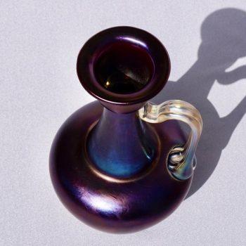 Loetz Rubin Matte Iris Handles Ewer Vase, Rare 1898