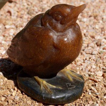 Amalric Walter Henri Berge Pate De Verre Brown Bird Paperweight