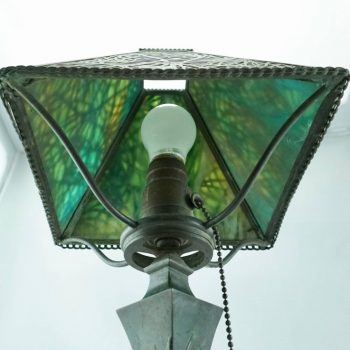 Art Nouveau Pine Needle Bronze and Glass Riviere Studios Lamp, circa 1900