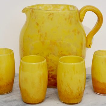 Art Deco Daum Nancy French Pitcher with Glasses, Set 1930 Image 01