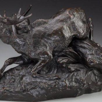 Antoine-Louis Barye Bronze Elan Surpris Par Un Lynx F. Barbedienne