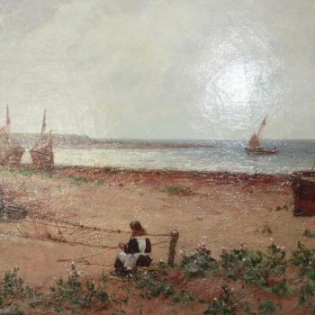19th Century French Oil Painting of a Fishing Village with Woman Mending Nets