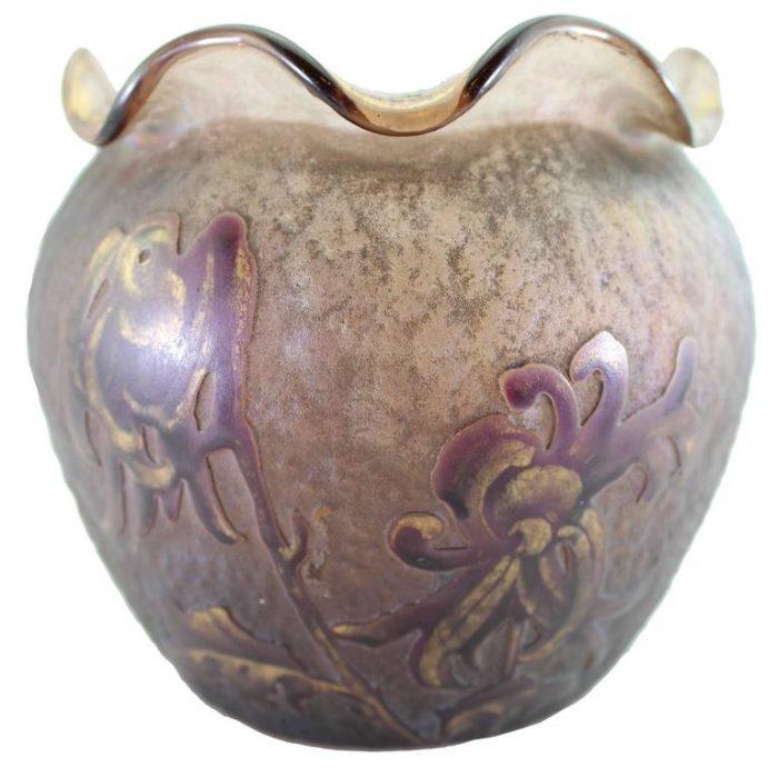 Daum Nancy Cameo Iridescent Iris Vase, circa 1900