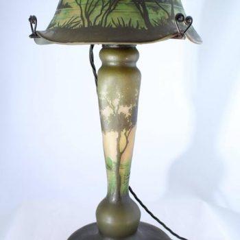 Monumental Daum Nancy Cameo Scenic Lamp, circa 1900