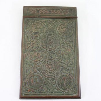 Tiffany Studios Bronze Ink Well, Pen Trey and Note Pad Zodiac Desk Set
