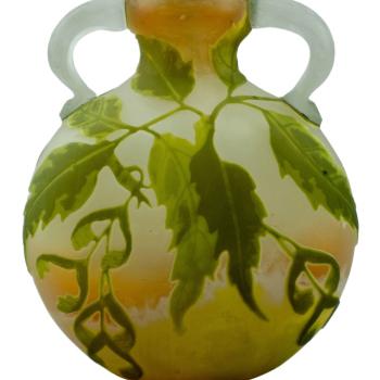 Emile Gallé Cameo Acid Etched and Wheel Carved Applied Handled Vase