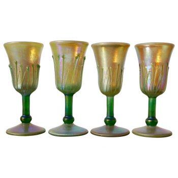 Four Phoenix Studios Iridescent Gold Favrile Wine Goblets
