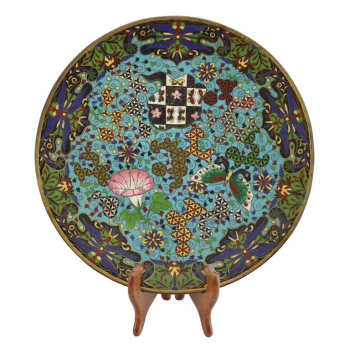Magnificent Japanese Meiji Cloisonne Charger Plate