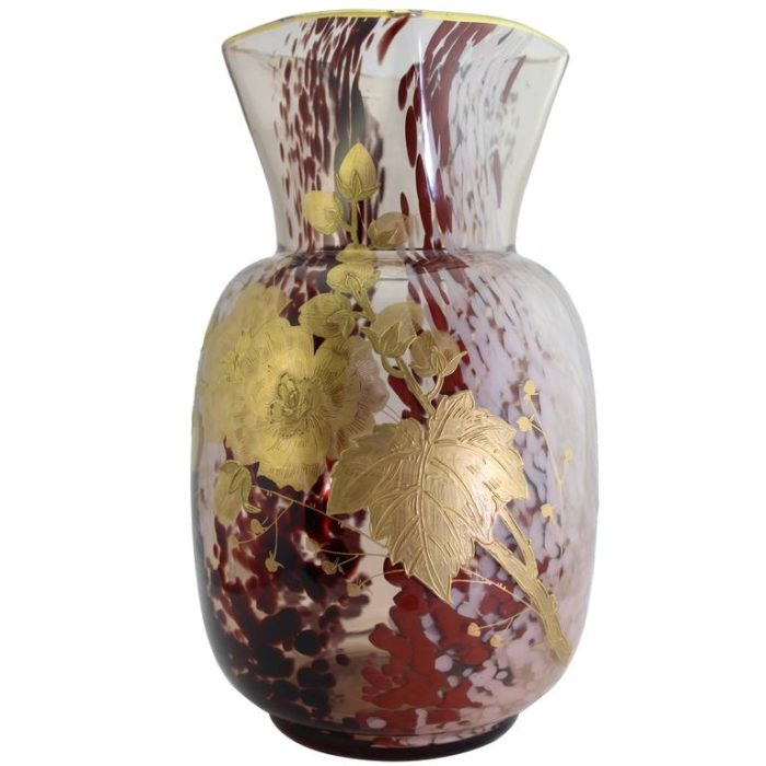 Ernest Baptiste Léveillé, Paris, circa 1900 Art Glass Vase