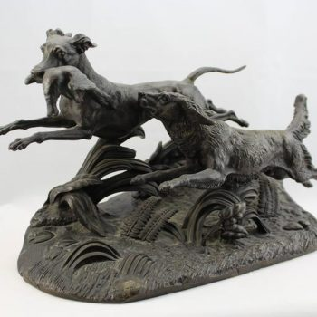 Paul-Joseph-Victor Dargaud Bronze Sculpture Group of Hunting Dogs, circa 1878