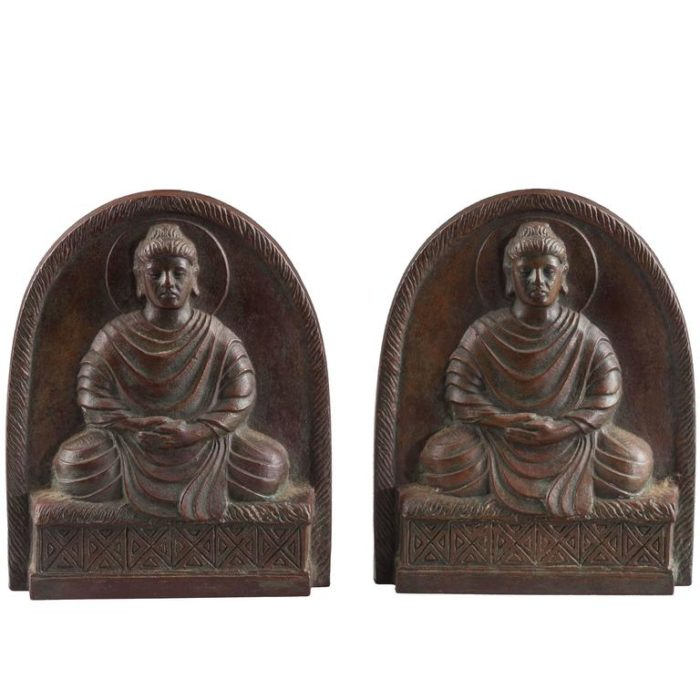 Tiffany Studios Bronze Buddha Bookends, circa 1900