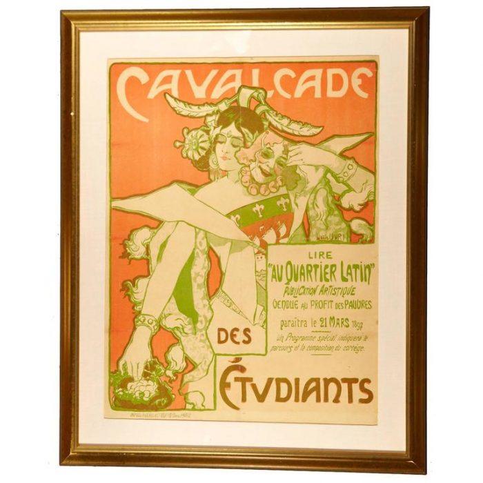Louis Oury, circa 1897 Art Nouveau Poster, Cavalcade Des Etudiants