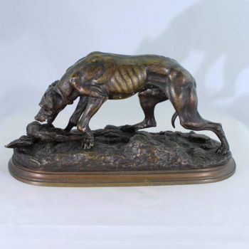 Jules Moigniez Bronze Sculpture of a Pointer and Pheasant, 19th Century