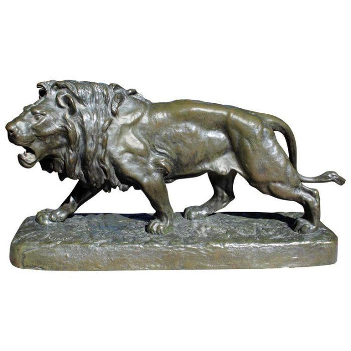 "Louis Vidal circa 1868 ""Striding Lion"" French Bronze Animalier"