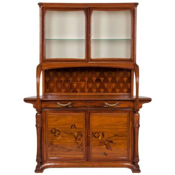 Louis Majorelle Nancy Signed Sideboard Vitrine, circa 1900