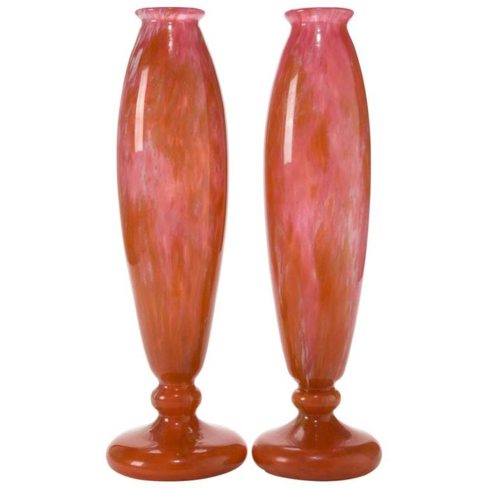 Pair of Charles Schneider Art Deco Glass Vases, circa 1915