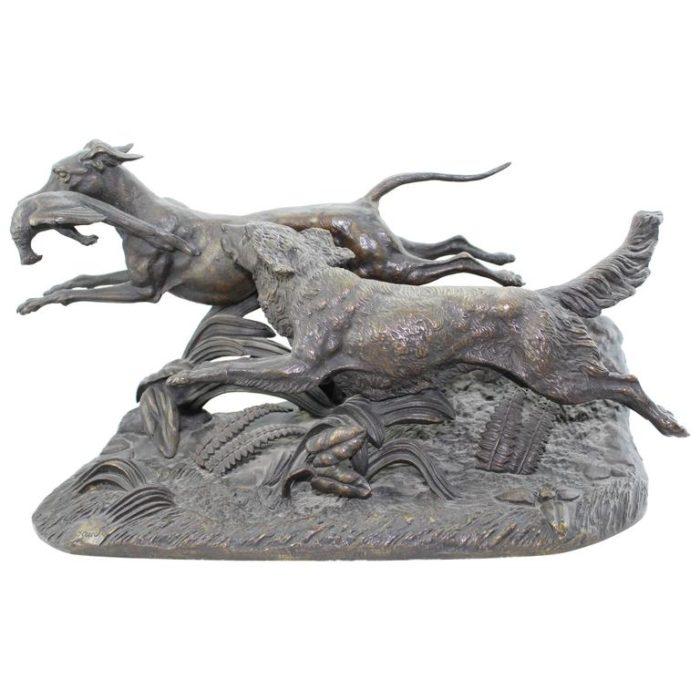Paul-Joseph-Victor Dargaud Bronze Sculpture Group of Hunting Dogs, circa 1878