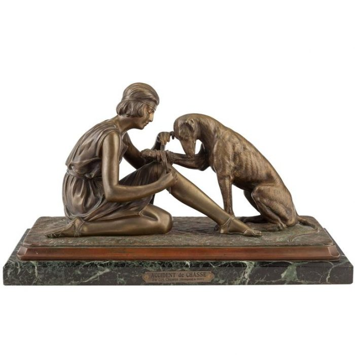"Dimetri Chiparus Bronze ""Accident De Chasse"" Woman and Dog, circa 1925"