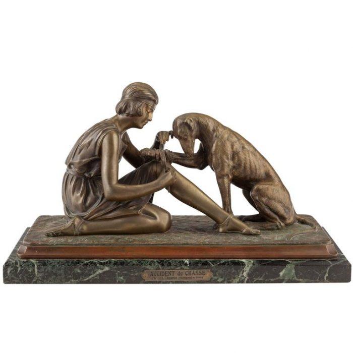 """Dimetri Chiparus Bronze """"Accident De Chasse"""" Woman and Dog, circa 1925"""