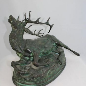 Louis Vidal, Bronze of a Wounded Stag, Barye, circa 1863