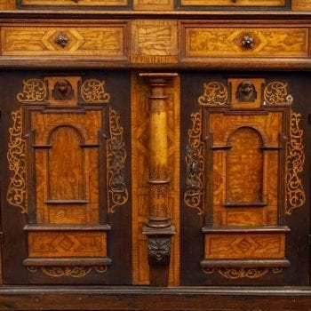 18th-19th Century Inlaid Alsatian Deux Corps Sideboard Armoire, Louis XIV