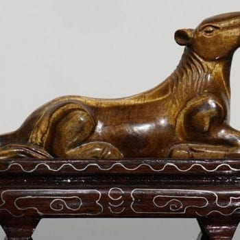 Chinese Carved Tigers Eye Han Tang Dynasty Style Horse