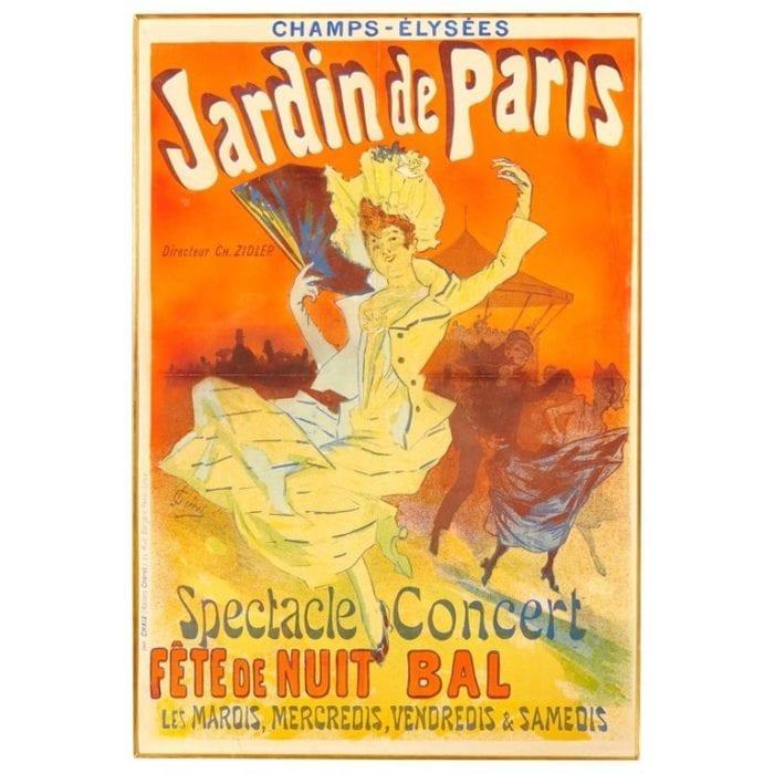 Original Jules Cheret Art Nouveau Jardins De Paris Poster, 1890