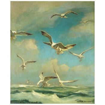 "Emile Albert Gruppe Oil on Canvas, Gloucester Seagulls 30""X25"""