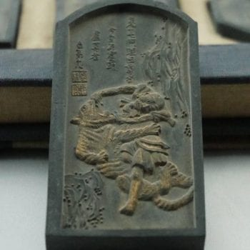 "Qing Chinese Ink Blocks Cakes of the 18 ""Luohan"" Buddha's Disciples"