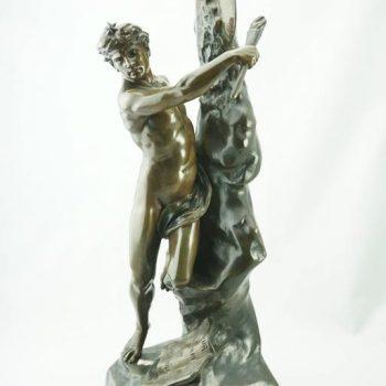 """Emile Louis Picault """"Le Genie De L'Humanite"""" Exceptional French Bronze"""