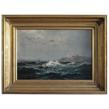 Edward Moran Impressionist Marine Oil Painting with