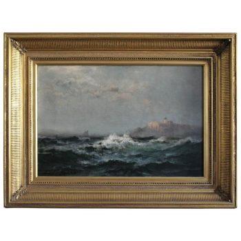Edward Moran Impressionist Marine Oil Painting with