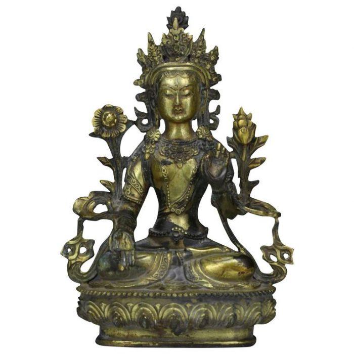 Sino Tibetan Gilt Bronze Buddha or Tara, 19th Century