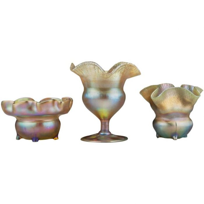 Three Tiffany Studios Gold Favrille Bowls, circa 1900