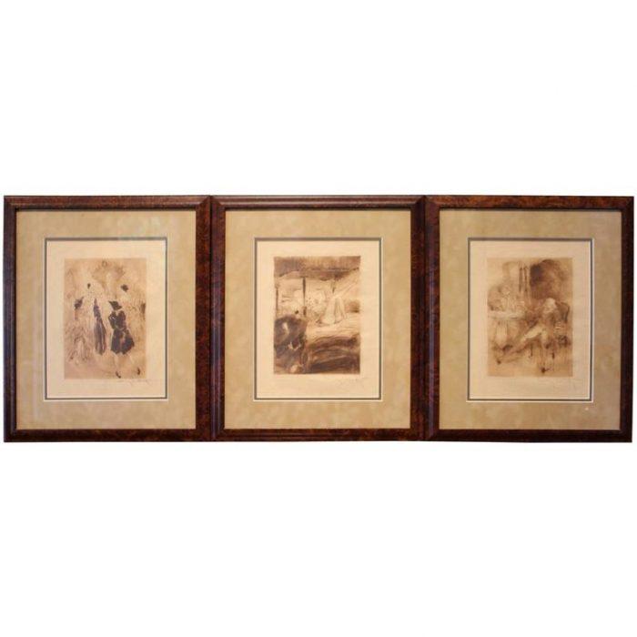 """Three Louis Icart Sepia Etchings """"La Nuit et le Moment,"""" 1946"""