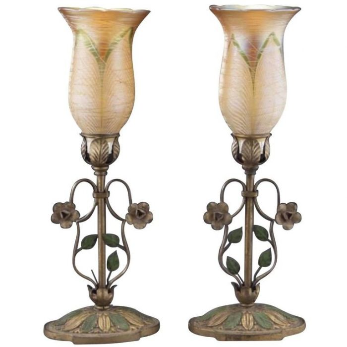 Pair of Durand Art Glass Table, Mantel or Desk Lamps