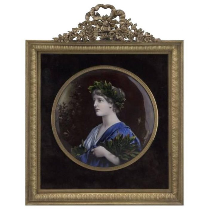 Limoges Enameled Plaque in Amazing Gilt Bronze Frame, circa 1900