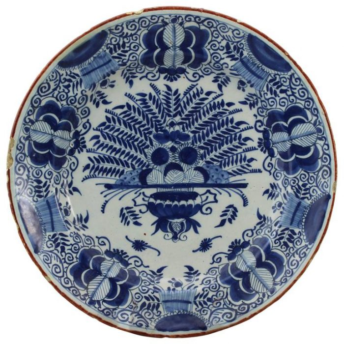 18th Century Delft Peacock Plate Charger
