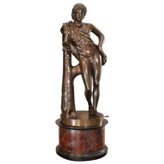 """Benedetto Boschetti Italian Bronze Sculpture """"Faune Di Capitole,"""" circa 1850"""