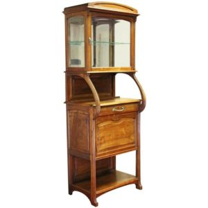 Art Nouveau Fruitwood Glazed Vitrine Cabinet, circa 1900