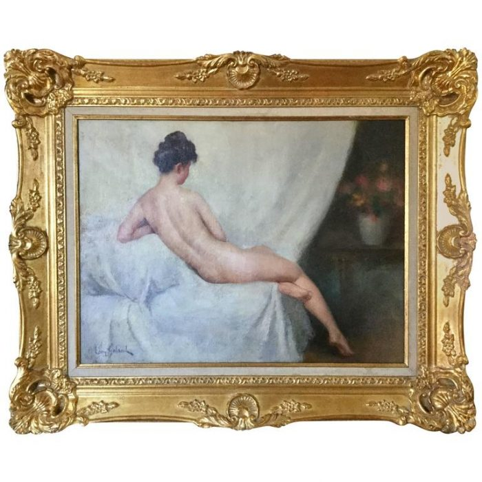 "Leon Laurent Galand Art Deco Nude Oil on Canvas ""Contemplation"""