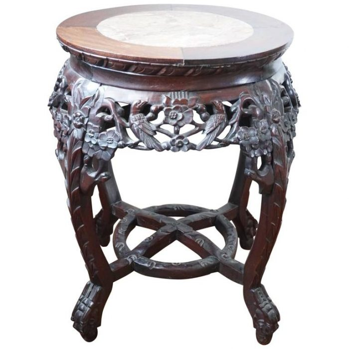 19th Century Chinese Rosewood and Marble Carved Stand, Qing Dynasty