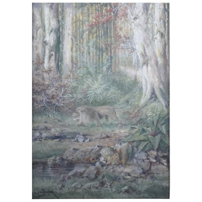Henri Langerock Belgium Watercolor of a Prowling Lion in the Jungle