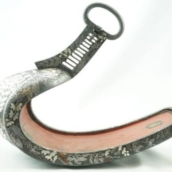 Pair of Edo 18th/19th Century Silver Inlaid Samurai Abumi Japanese Iron Stirrups