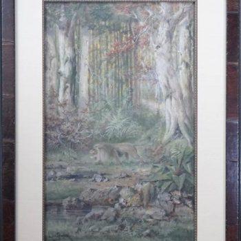 Henri Langerock Belgium Watercolor of a Prowling Lion in the Jungle