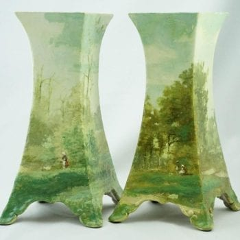 French 19th Century Majolica Hand-Painted Impressionist Barbizon Landscape, Pair